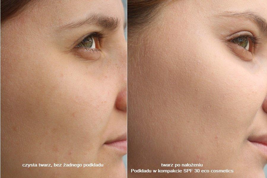 twarz przed i po nałożeniu podkładu w kompakcie eco cosmetics