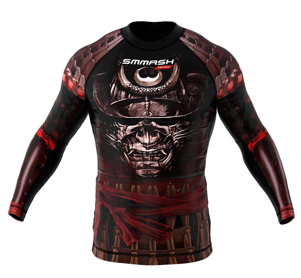 smmash samurai mma bjj combat rash guard long kompressionshirt funktionsshirt ebay. Black Bedroom Furniture Sets. Home Design Ideas