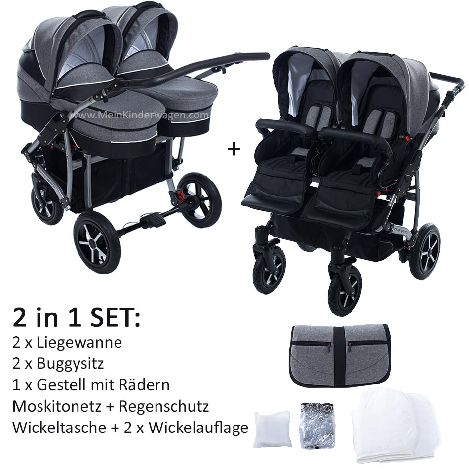 Zwillingswagen 2 in 1 SET Twin