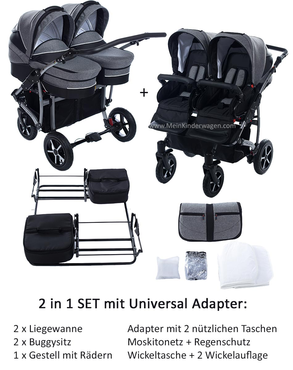 Twin Zwillingswagen 2 in 1 Set mit Adapter