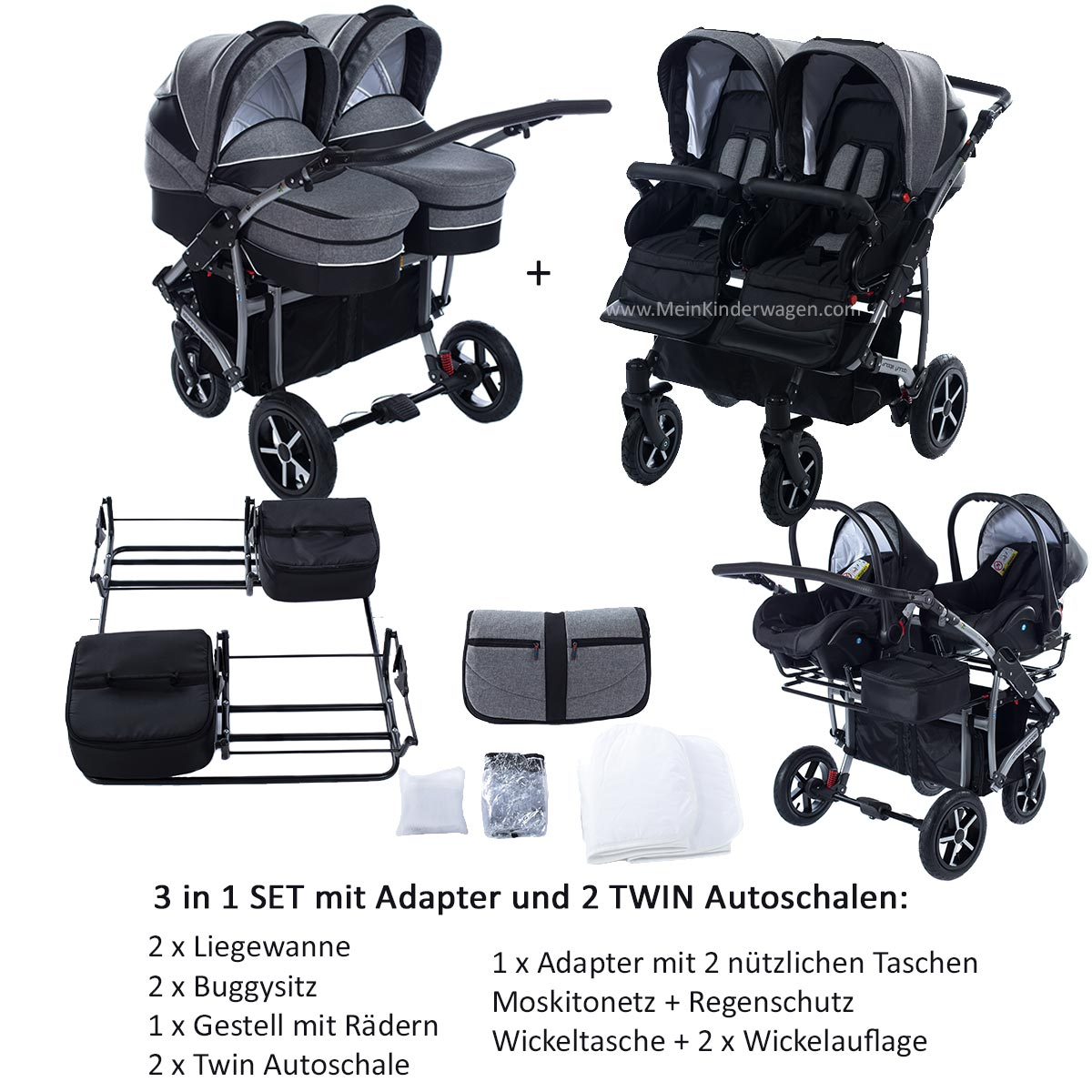 Twin Zwillingswagen 2 in 1 Set mit Adapter und 2 Autoschalen