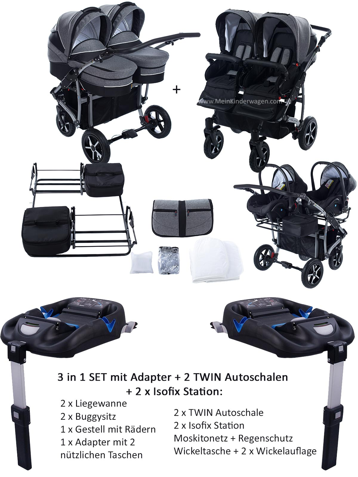 Twin Zwillingswagen 3 in 1 Set  mit Adapter +2 Autoschalen+2 isofix