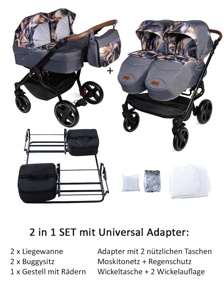 Twin Quick Zwillingswagen  2 in 1 Set mit Adapter