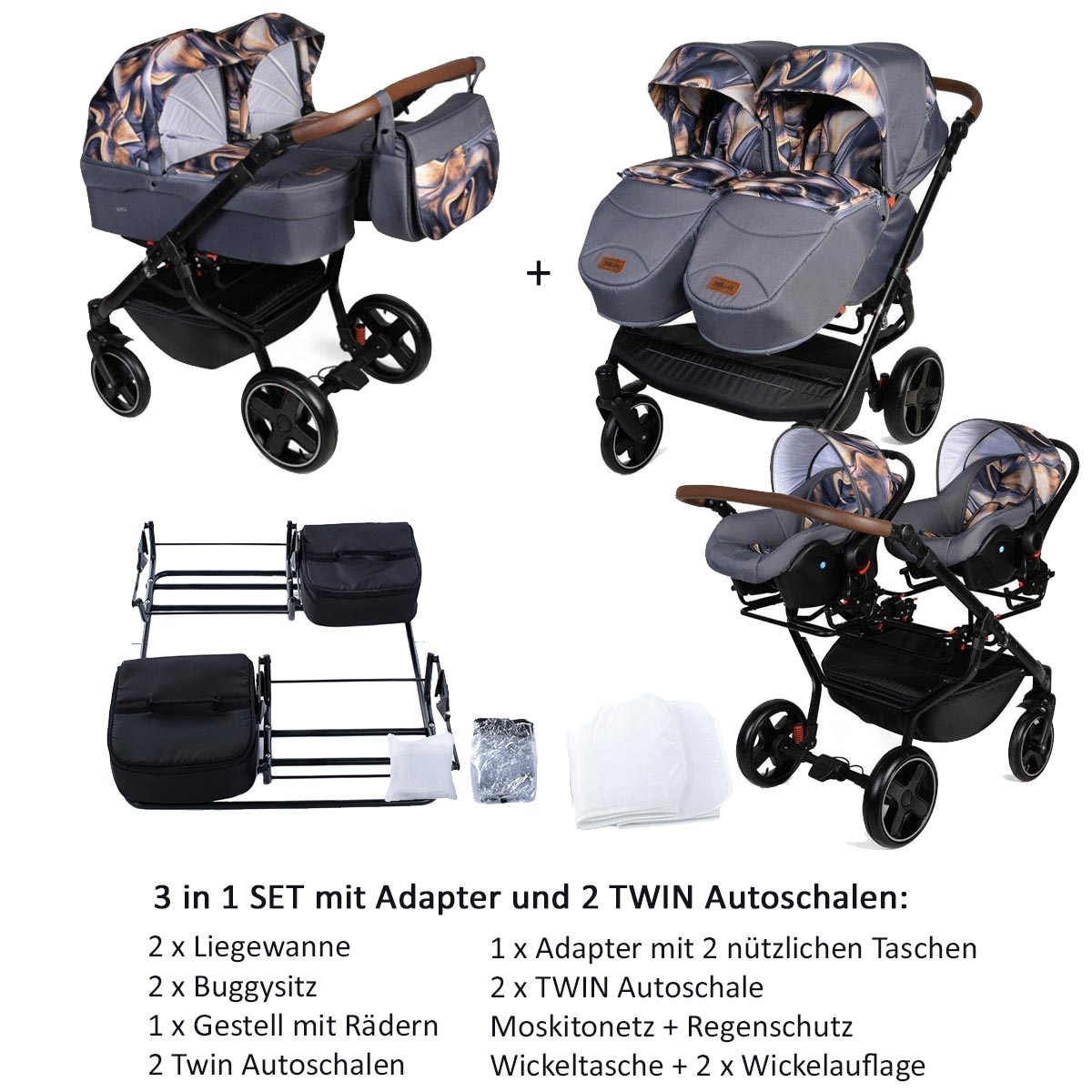 Twin Quick Zwillingswagen 3 in 1 SET