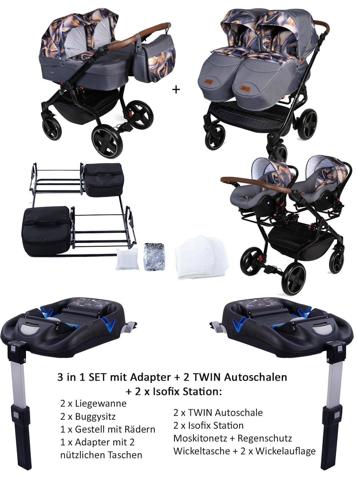 Twin Quick Zwillingswagen 4 in 1 SET