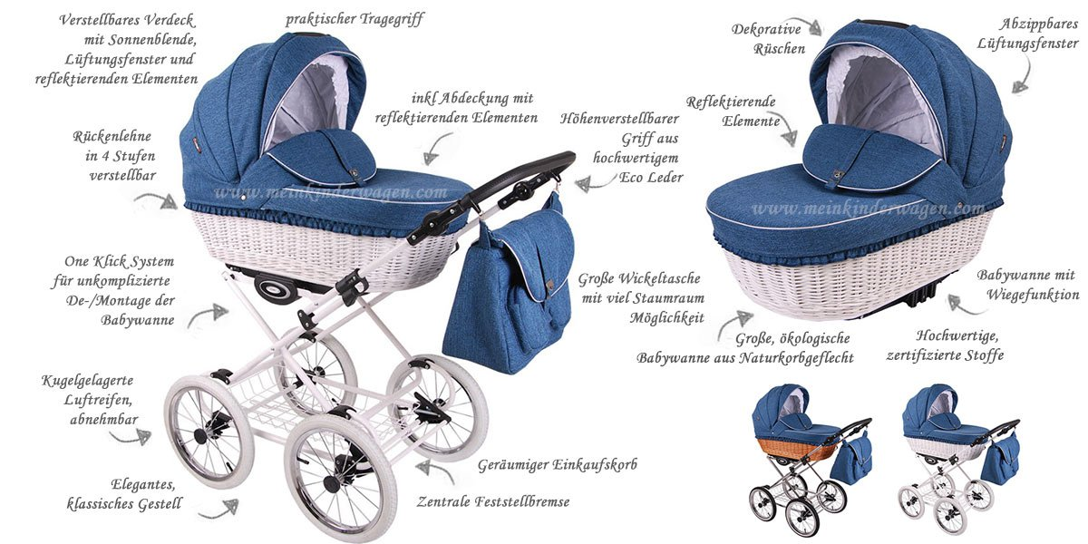 Kinderwagen Retro Deluxe Funktionen