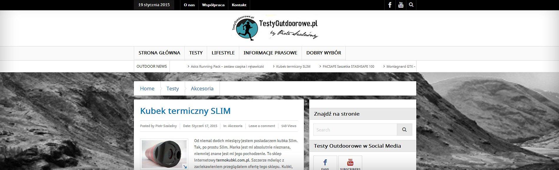 Kubek SLIM na testyoutdoorowe.pl
