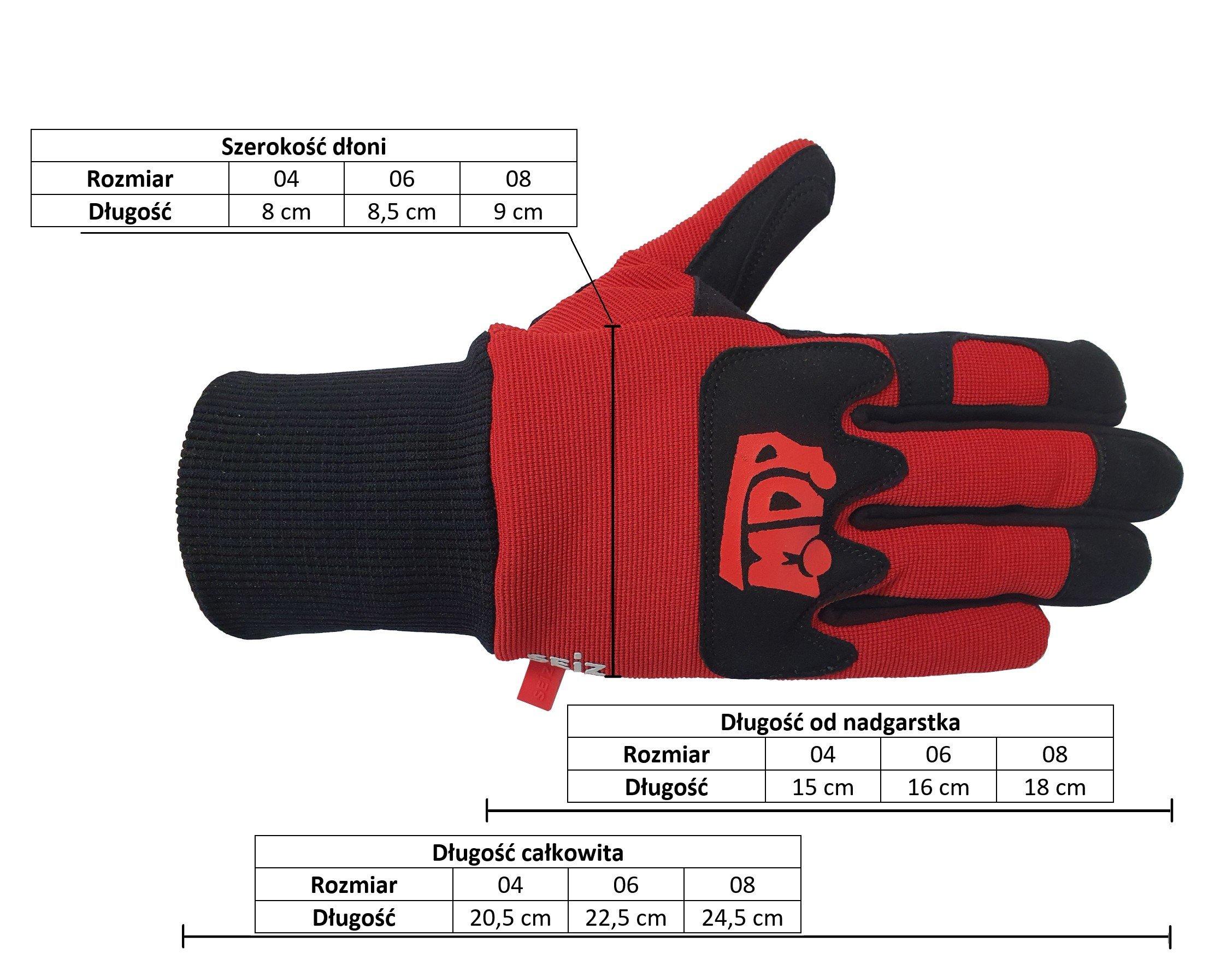 rękawice ochronne MDP rozmiary