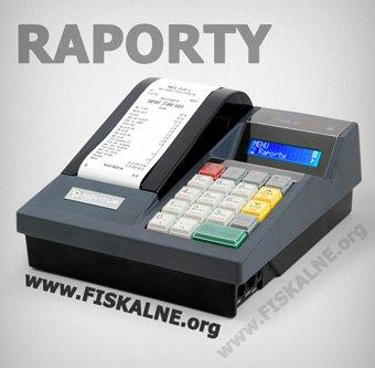 Kasa fiskalna Novitus Mała Plus E z wydrukowanym raportem oraz z napisami Raporty i www.fiskalne.org