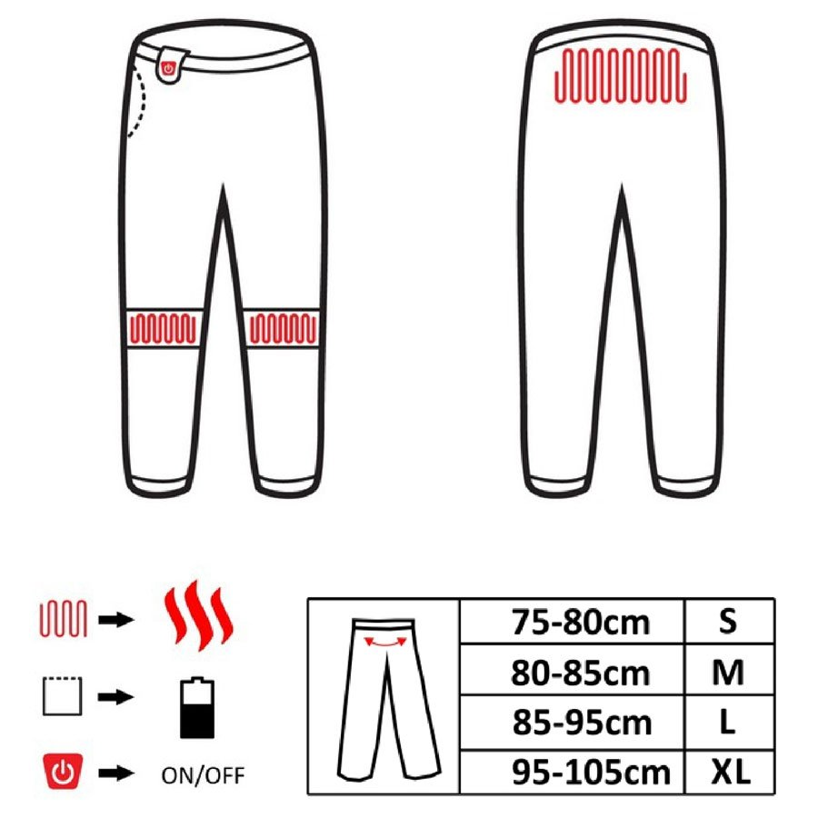 ogrzewane spodnie glovii gp1  black  dla narciarzy