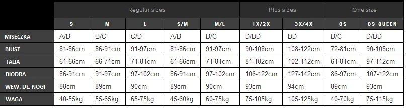 Baci tabela rozmiarów