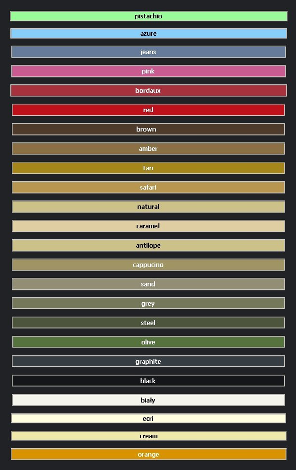 Fiore tabela kolorów