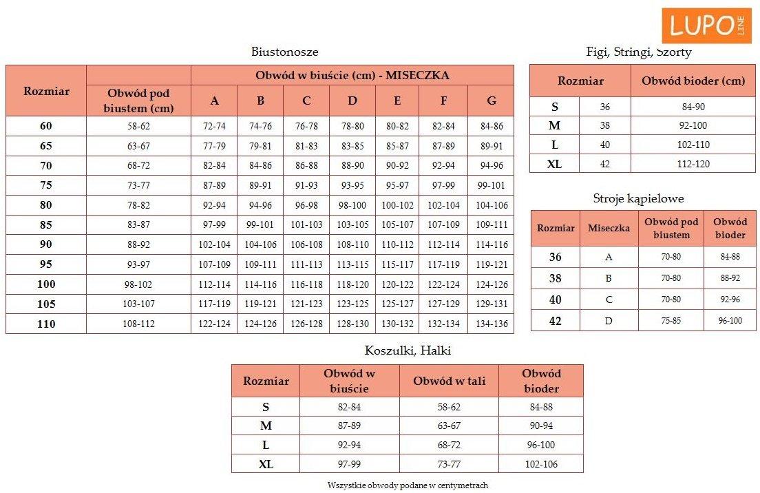 Lupoline tabela rozmiarów