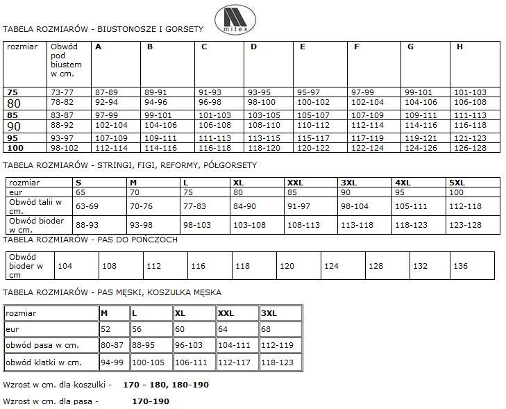Mitex tabela rozmiarów