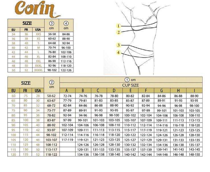 Corin tabela rozmiarów