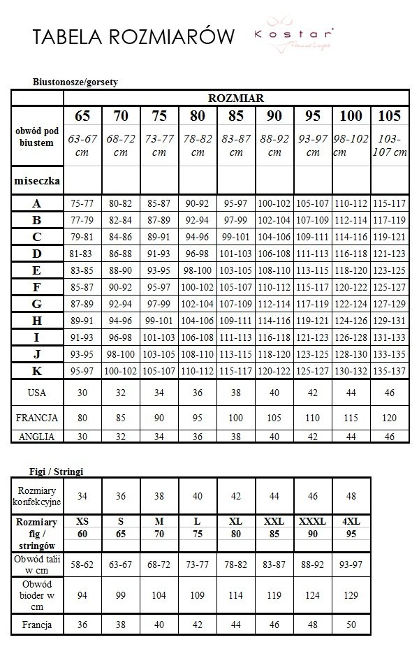 Tabela rozmiarów Kostar
