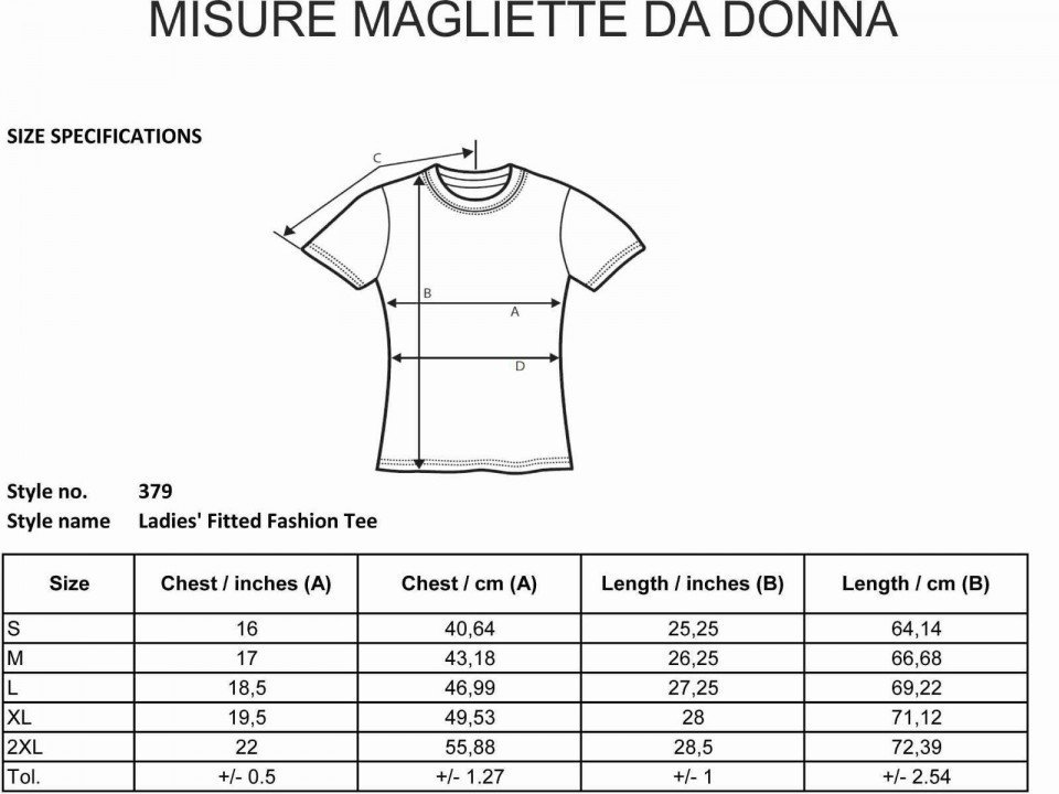 Misure t-shirt - gogolfun.it