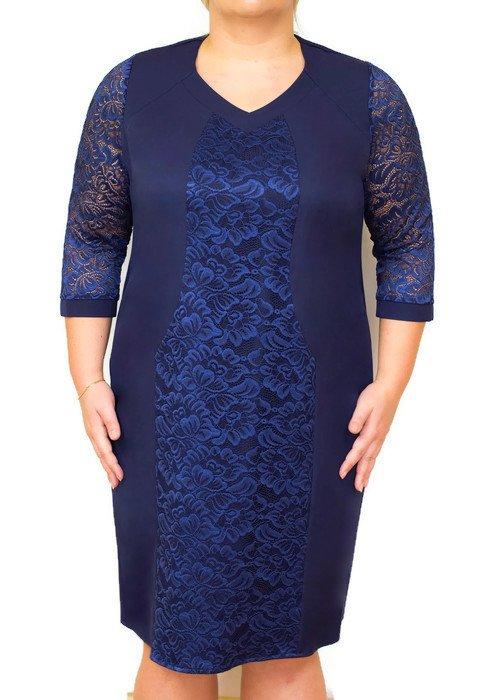 c5d771ead1 Elegancka sukienka XXL KLARA 46-54 na wesele GRANATOWA Duże rozmiary