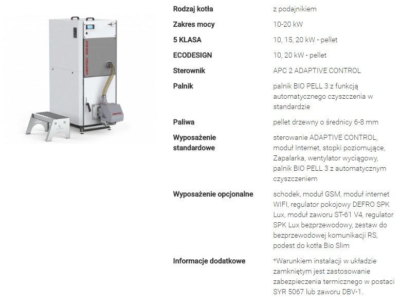 Niewiarygodnie Kocioł DEFRO Bio Slim 10 kW - kotlyonline.pl GD83