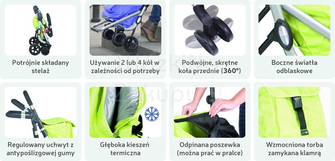 Składany wózek na zakupy z 4 kołami Playmarket, hiszpański, sklep Warszawa