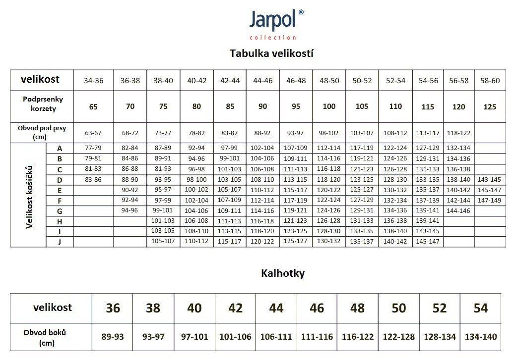 Jarpol tabulka velikostí