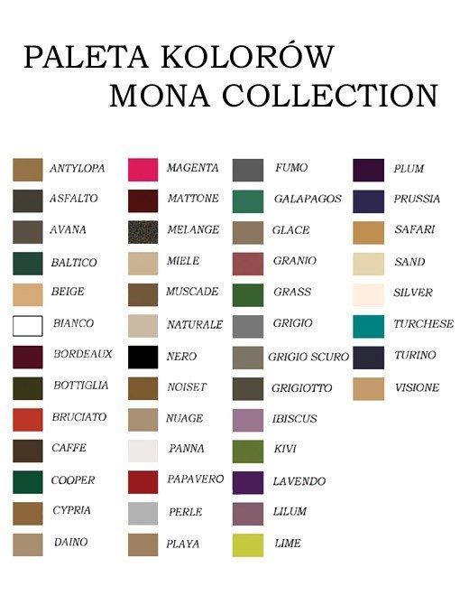 Mona tabulka velikostí a barev
