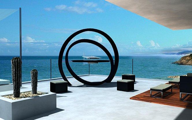 Designerski grill będący rzeźba ogrodową Cesarre