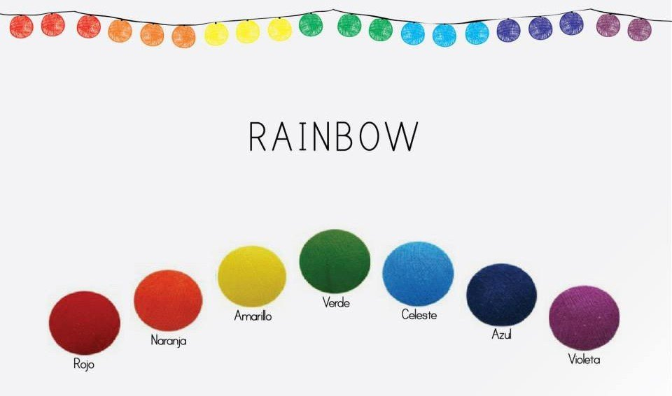 Rainbow - tęczowa girlanda Cotton Ball Lights