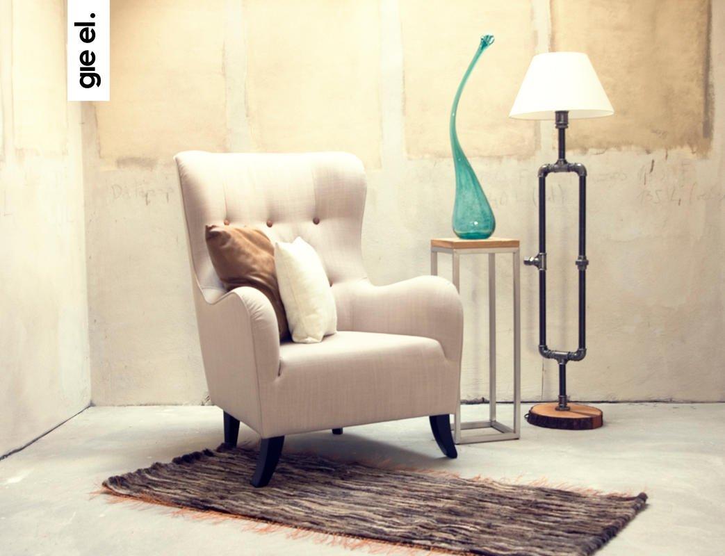 Designerski fotel lniany Gie El