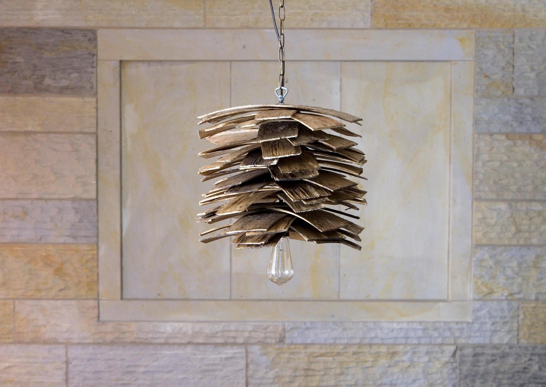 Industrialna lampa drewniana wisząca