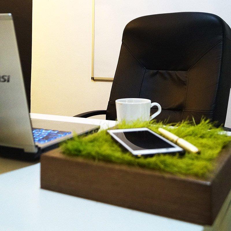 Stylowa kostka z trawą na biurko, stół, czy ławę
