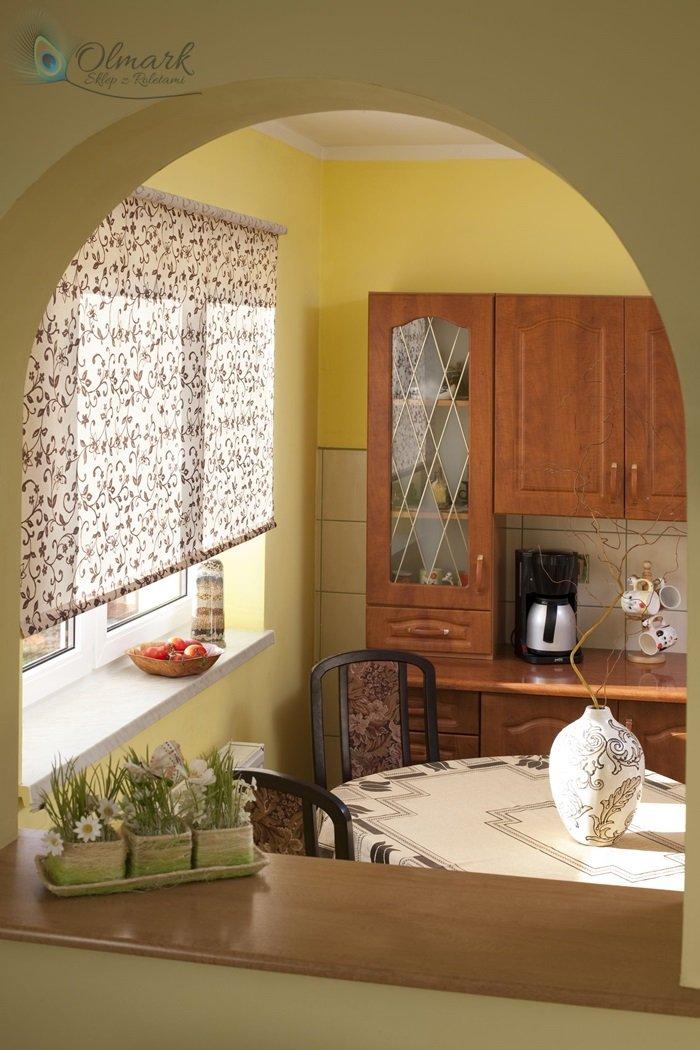beżowo brązowy wzór florystyczny w kuchni