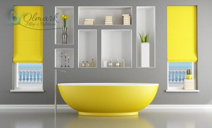 Cudowna łazienka w kolorach żółci na popielatym tle