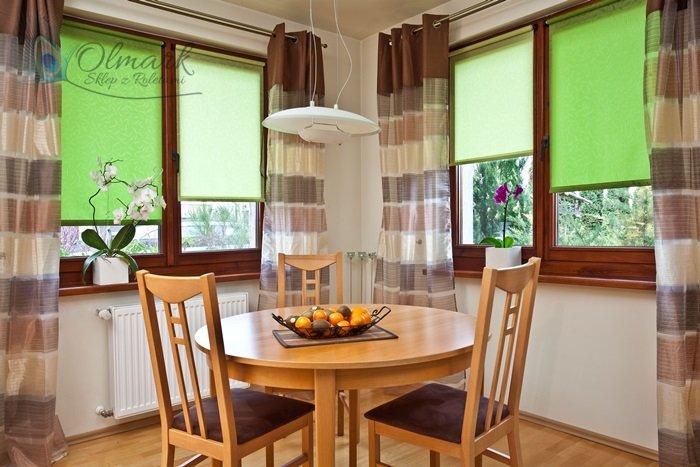 Zielony żakard w kuchni
