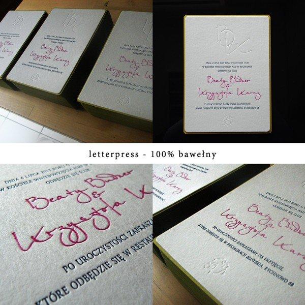 zaproszenie 1742-002 wykonane techniką letterpress
