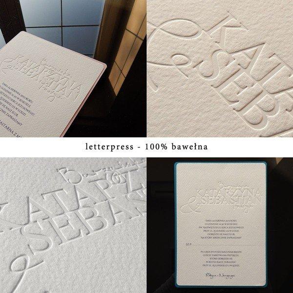 zaproszenie 1742-001 wykonane techniką letterpress