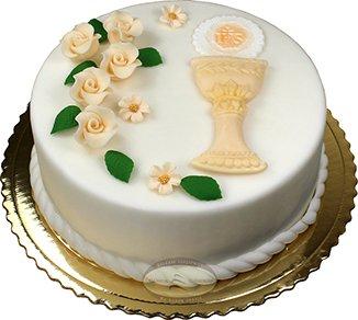 Tort komunijny kielich z hostią