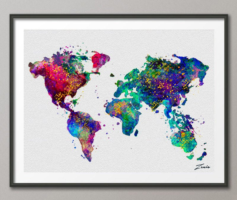 Watercolor world map etsy mapy wiata na cian obrazy plakaty fototapety gumiabroncs Images