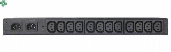 AP7721 Przełącznik źródła zasilania do montażu w szafie RACK ATS, 10A/230V, 12A/208V, C14 IN, (12) C13 OUT