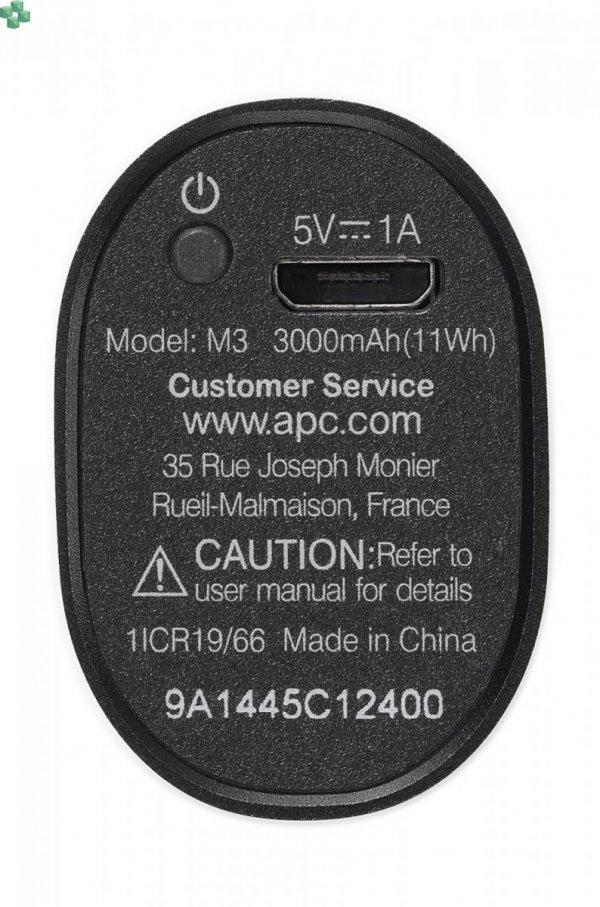 M3BK-EC Przenośny akumulator APC Mobile Power Pack, 3000 mAh litowo-jonowe ogniwa cylindryczne, czarny