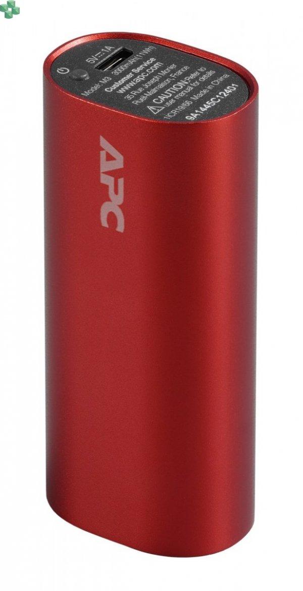 M3RD-EC Przenośny akumulator APC Mobile Power Pack, 3000 mAh litowo-jonowe ogniwa cylindryczne, czerwony