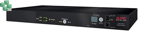 AP7722A Przełącznik źródła zasilania do montażu w szafie Rack ATS, 16A, 230V, (2)IEC 309 in, (1)IEC 309 Out