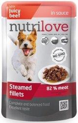 Nutrilove Premium Gotowane na parze delikatne fileciki z wołowiną w sosie 85g