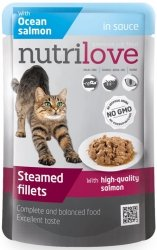 Nutrilove Premium Gotowane na parze delikatne fileciki z łososiem w sosie dla kota 85g