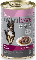 Nutrilove Premium Smaczne kawałki z cielęciną i indykiem w pysznym sosie 415g