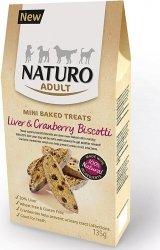 Naturo Mini Treats Biscotti - ciastka z wątróbką i żurawiną dla wrażliwych psów 135g