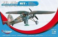 Mirage 900002 1/48 [KIT+] PZL P-11c samolot myśliwski (testowy kamuflaż Lotnictwa Polskiego) – [zestaw zawiera: 2 figurki; maski; linkę; elem fototr; elem z białego metalu]
