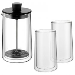 Wmf COFFEE TIME Spieniacz Tłokowy do Mleka + 2 Szklanki Termiczne do Latte