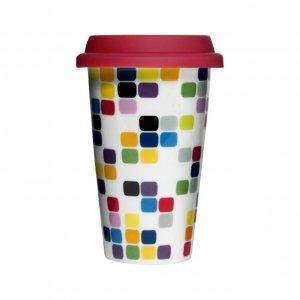 Sagaform CAFE Porcelanowy Kubek Termiczny - Kostki Piksele