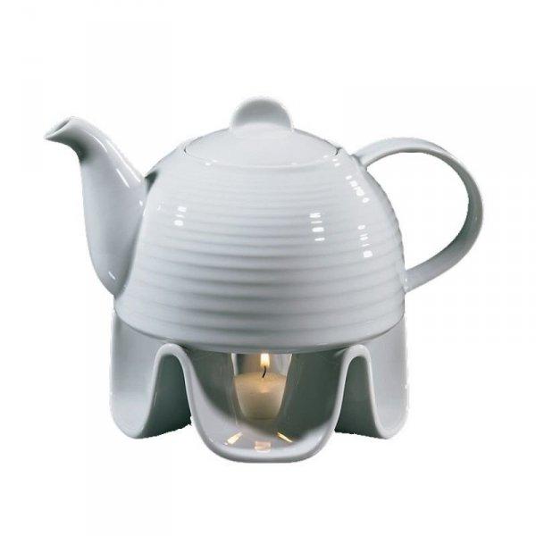 Cilio TEA Porcelanowy Dzbanek do Herbaty z Podgrzewaczem - Biały